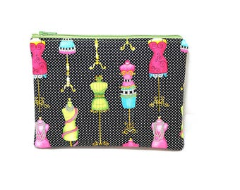 Cosmetic Case, Cord Case, Bridesmaid Gifts, All-Purpose Zipper Case, Colorful Dress Forms and Black Dots 9039