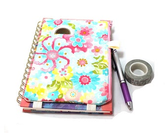 Journal Pouch Planner Pouch Pencil Pouch Planner Band Planner Accessory Bag - Blue Yellow and Pink Watercolor Flowers 9302