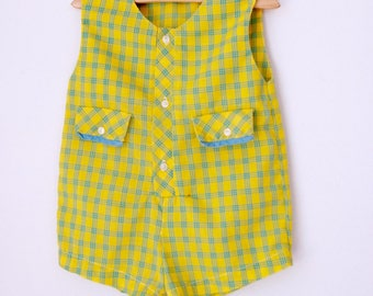 Vintage romper yellow and blue plaid 12 to 18 months| toddler romper