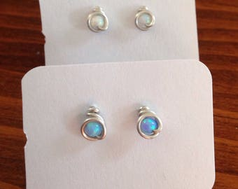 Small (3mm) Blue Opal and White Opal Stud Earrings, 2 Pairs, Argentium Sterling Silver Wire posts with hypoallergenic rubber backs