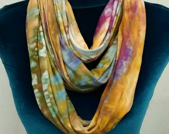 Purple Gold and Green Rayon Jersey Infinity Scarf