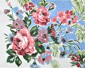 "Vintage Tablecloth Pink Blue Floral MWT Vintage Table Linens Printed Table Cloth 52"" x 70"" Mid Century Kitchen Decor Prints Charming NWT"