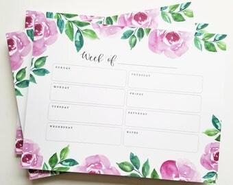 Notepad - Floral Watercolor Weekly Notepad - Desk Note Pad, Calendar