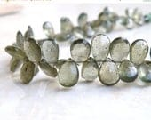 Deep Discount Sale Rare Moss Aquamarine Gemstone Briolette Forest Green Faceted Teardrop 9.5 to 10.5mm 25 beads