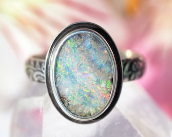 Opal Ring - Australian Opal Ring - Sterling Silver Boulder Opal Ring - oval natural Opal ring - solid opal ring - US size 8.75 - size 8 3/4