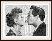 Lucy & Ricky Kiss--Desi Arnaz -I love Lucy-Lucille Ball- Vintage Dictionary Art Print--Fits 8x10 Mat or Frame