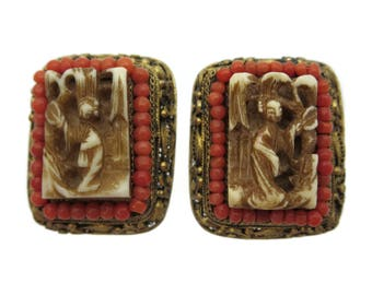 Chinese Jewelry Earrings - Export Silver Filigree Carved Figures Coral Beads