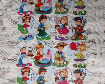 Germany Vintage Children Playing Lithographed Die Cut Paper Scraps Kruger Out Of Print  004