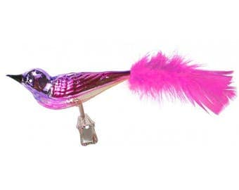 "Glossy Pink, Purple and Gold Blown Glass Clipping Christmas Bird ~ Czech Republic ~ 6"" long HLC95PKP"