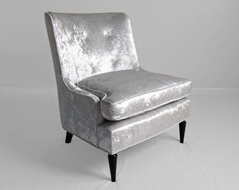 NEW restored mid century FRENCH REGENCY silver blue velvet slipper chair