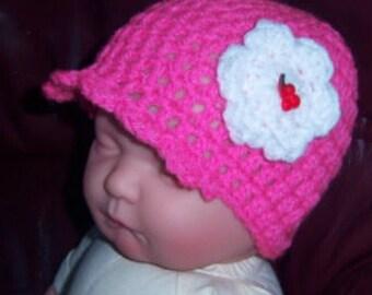 Reborn Baby Girl Hat Newborn Beanie hat Reborn Babies Pink hat Cherries button Baby Shower gift Handmade crochet flowers hat Rockabella baby