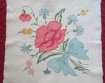Vintage Hand Embroidered Vogart Pillow Top - Thrift Store Find