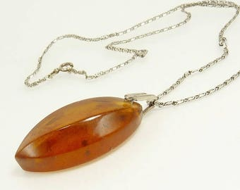 Modernist Baltic Amber Pendant Necklace Hallmarked Sterling Silver
