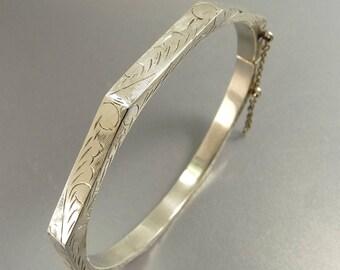 Vintage Sterling 925 Bangle Bracelet Hinged Etched Bangle