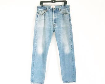 Vintage LEVIS 501 Distressed Straight Leg Jeans. Size Tagged 36 x 36. Waist: 34""