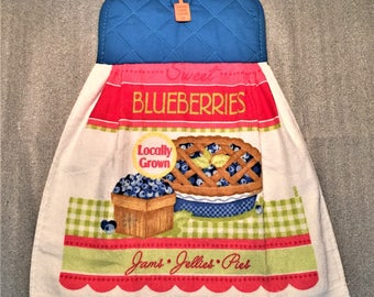BLUEBERRY PIE Double Layer Hanging DECORATIVE Towel, oven door towel, kitchen, housewarming, birthday, holiday, gifts
