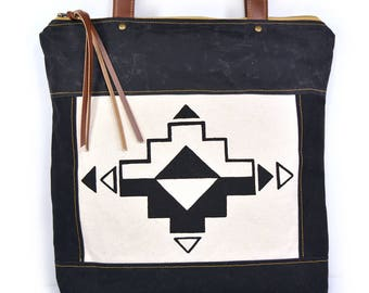bucket tote • waxed canvas tote bag • southwest geometric print - waxed canvas - gifts under 100 - handmade tote • casita no. 1