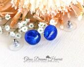 Art  Glass Stud Earrings,...