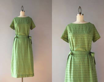 1950s Dress / Vintage 50s Slender Green Dress with Bows / Early 60s Bow Belt Cotton Day Dress