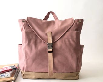 Pink canvas backpack ,travel backpack, Unisex School backpack, Diaper bag ,Leather strap laptop Satchel rucksack - 30% SALE  // no.108 //