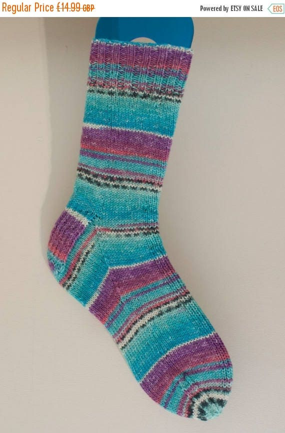 Christmas In July Narrow Fitting Handknitted Socks in Turquoise and Purple