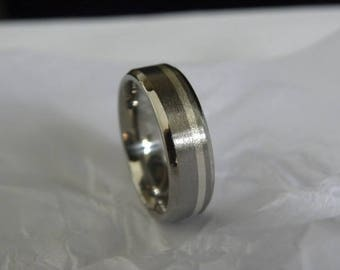 Ring or Wedding Band Titanium with Sterling Silver Inlay