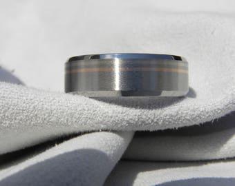 Titanium Wedding Band with White Gold, Rose Gold Pinstripes, Ring, Beveled Edges