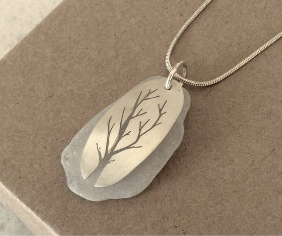 Sterling Silver and Sea Glass Tree of Life Necklace