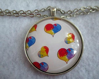 Red Blue Yellow Primary Colors HEARTS Cabochon PENDANT Necklace