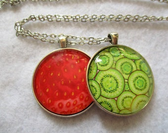Set of 2 Cabochon PENDANTS with Necklace *** Juicy STRAWBERRY and KIWI Slices