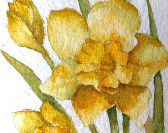 Art Card of Daffodils Floral Art Original Painting Spring Flowers Artist Trading Card