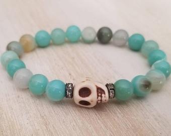 Agate bracelet, beaded bracelet for women, skull jewelry, boho jewelry, stacking bracelet, birthday gift for teen, best selling items
