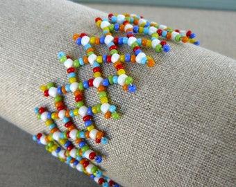 Bright Colorful Bracelet, Multi Colored Bracelet, Multi Color Beadwork Cuff, Multicolored Jewelry, Beadwoven Bracelet