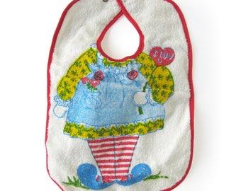 Vintage Raggedy Ann Bib / Cotton Terrycloth Bib / Childs Bib / Retro Bib for Girl / Baby Bibs