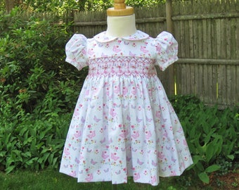 Smocked, baby girl dress, size 18Mo, Pink butterflies, White dress, Ready to ship, Classic, Party, Birthday gift, heirloom, Easter, Wedding