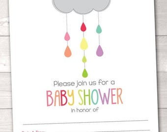 35% OFF SALE Instant Download Baby Shower Invitations Colorful Shower Cloud Printable PDF Gender Neutral for Girls or Boys