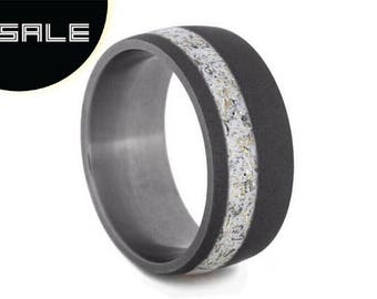SALE - Meteorite Stardust Wedding Band With Yellow Gold Accents, Sandblasted Titanium Ring With Enamel, Personalized Ring