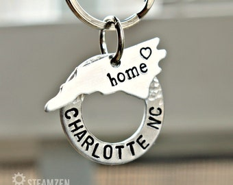 Charlotte NC My Home State Key Chain - Souvenir Gift - NC Customizable Key chain - Wedding Favor Gift - Tar Heel State - Unisex