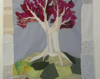 Pink applique tree banner/wallhanging