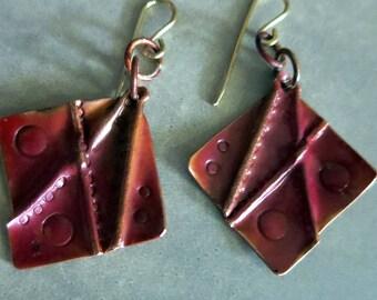 Folded Copper Dangle Earrings