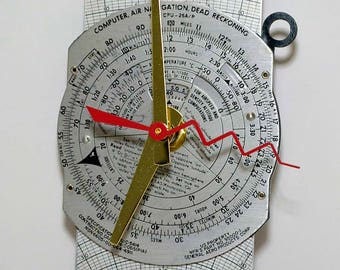 steampunk techie recycled art wall clock pilot flight computer one of a kind artist signed made in Michigan wall office home gift