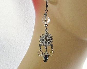 Crystal Chandelier Earrings, Crystal Clear, Chandelier Earrings, Mixed Metals, Handmade