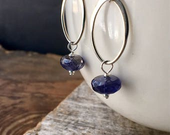 Iolite Earrings, Iolite Sterling Silver Earrings