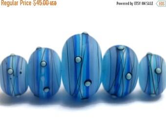 ON SALE 35% OFF New! 10414711 Five Arctic Blast Graduated Rondelle Beads - Handmade Glass Lampwork Beads
