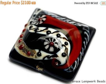ON SALE 35% OFF Dakota Quilt Pillow Focal Bead 11834104 - Handmade Glass Lampwork Bead
