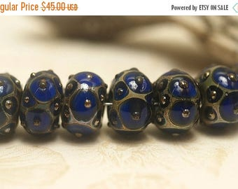 ON SALE 35% OFF Handmade Glass Lampwork Bead Set -  Seven Cobalt w/Metal Dots Rondelle Beads 10410201