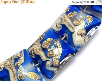 ON SALE 35% OFF Four Cobalt Treasure Pillow Bead Set - Handmade Lampwork Beads 10410014
