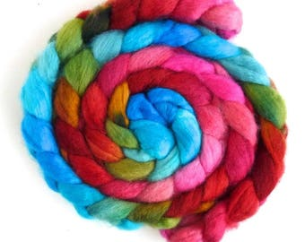 BFL Wool Roving - Hand Painted Spinning or Felting Fiber, Blazing Blossoms