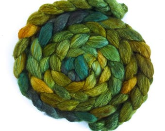 Moss and Pine, BFL/Silk Roving - Handpainted Spinning or Felting Fiber