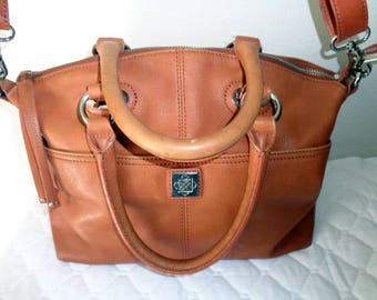 Vintage genuine butter soft camel tan leather Boston bag, doctors bag, satchel , dual strap work bag,  classic  style purse multi pockets